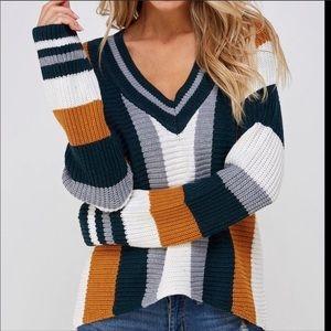 Skies Are Blue Oversized Stripe Sweater